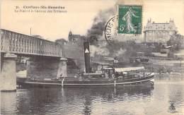 PENICHES Barge - 78 - CONLANS STE HONORINE : Bon 1er Plan Péniche à Vapeur - Jolie CPA - YVELINES Astkähne Aken Chiatte - Arken