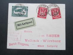 DR 1925 Holztaube / Doppeldecker MiF Nr. 112 / 345 Mit Luftpost Befördert Leipzig 2. Dorsten - Volkach. Durch Flugpost - Briefe U. Dokumente