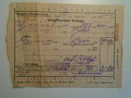 H5.3 MÁV - Railway  Ticket De Train - Utánfizetési ürjegy - Murony- Békés  1962 - Transportation Tickets