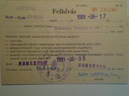 H5.5 MÁV - Railway  Ticket De Train - Military Recruiting Ticket - Debrecen  1991 -Hungarian Army - Transportation Tickets