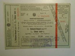 H5.6 MÁV - Railway  Ticket De Train - Hungary Budapest- Záhony - 1959 - Unclassified