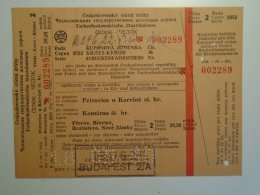 H5.7 MÁV - Railway  Ticket De Train - CEDOK  CSSR - Petrovie U Kravine -Komárno - 1960 - Unclassified