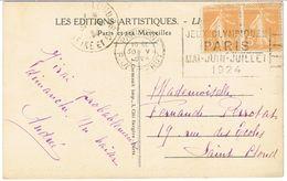 O.MEC FLIER PARIS XVIII JEUX OLYMPIQUES PARIS 1924 SUR CPA - Poststempel (Briefe)