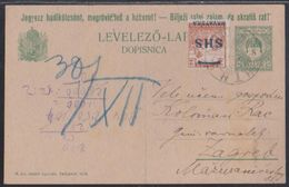 Karlovac, Croatia SHS, Uprated Hungarian 8 Fil. Postcard, December 1918 - Storia Postale