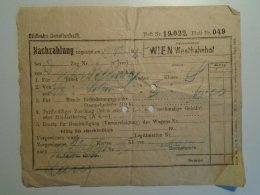 H6.3  Railway  Ticket De Train -WIEN -Westbahnhof -1925 - Transportation Tickets