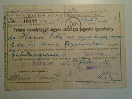H6.4  Railway  Ticket De Train -Hungary Balatonfüred-Budapest 1925 Dr. Hausz Ede - Major - Unclassified