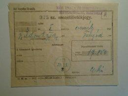 H6.5  Railway  Ticket De Train -Hungary Balatonszentgyörgy -Fonyód 1925 - Price 17850 Korona - Keszthely Jegyiroda - Transportation Tickets