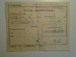 H6.5  Railway  Ticket De Train -Hungary Balatonszentgyörgy -Fonyód 1925 - Price 17850 Korona - Keszthely Jegyiroda - Unclassified
