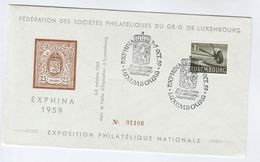 1959 LUXEMBOURG Philatelic EXHIBITION EVENT COVER Heraldic Lion Pmk, Aircraft Stamps Aviation - Luxembourg