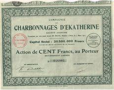 Action Ancienne - Compagnie Des Charbonnages D' Ekatherine - Titre De 1927 - - Rusia