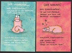 LITTLE MONSTER CARDS Der Wissbegierige Der Schlaffi 35 + 36 (11 X 16 Cm) 2 Karten - Cartes Postales