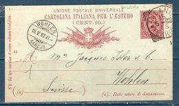 Italia / Italy 1892  --- Cartolina Postale Da MILANO PER LA SVIZZERA - 1878-00 Umberto I