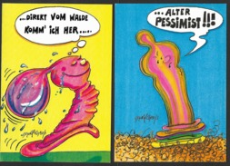 LITTLE MONSTER CARDS Vom Walde Komm Ich Her Alter Pessimist 814 + 815 (11 X 16 Cm) 2 Karten - Cartes Postales