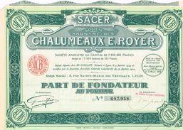 Action Ancienne - Société Anonyme Des Chalumeaux E. Royer - Titre De 1924 - - Industrie