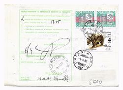 EDB126 - REPUBBLICA 1992 , Bollettino Pacchi 500 Lire Wwf + Complementi . Orso - 6. 1946-.. Repubblica