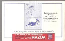"""Buvard MAZDA Buvard N°9 Sivous Voulez Savoir L'heure à Laquelle Il Rentre """"MAZDA !"""" - Accumulators"""