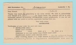 OM6. Entier Postal Postal Stationery Artmaster   Louisville - 1941-60