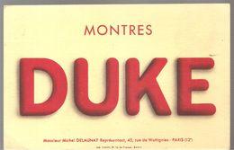 Buvard DUKE Montres DUKE Michel Delaunay Représentant 45, Rue De WATTIGNIES PARIS 12 ème - Buvards, Protège-cahiers Illustrés