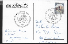ANNULLO SPECIALE - GENOVA - MOSTRA FILATELICA TEMATICA -  EUROFLORA 1986 - 25.04.1986 - 1981-90: Storia Postale