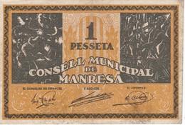 BILLETE DE 1 PESETA DEL CONSELL MUNICIPAL DE MANRESA DEL AÑO 1937 SERIE C - [ 3] 1936-1975 : Régimen De Franco