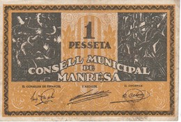BILLETE DE 1 PESETA DEL CONSELL MUNICIPAL DE MANRESA DEL AÑO 1937 SERIE C - [ 3] 1936-1975 : Régence De Franco