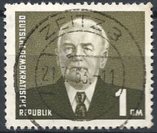 D.D.R. - 1957 Presidente Pieck 1Dm Oliva Scuro F.3 # Michel 622 - Scott 339 - Unificato 622 USATO - Gebraucht
