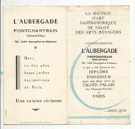 Publicité + Menu, 6 Pages , Restaurant L'AUBERGADE , 1958 , Pontchartrin ,78 , 3 Scans , Frais Fr : .1.45 E - Advertising