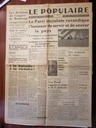 ANNEE 1946 POLITIQUE Journal Presse LE POPULAIRE Congrès Parti Socialiste MANIFESTE MOLLET MONTROUGE ALBI BIONDI AURIOL - Altri