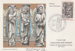 Carte  Maximum  1er  Jour    Cloitre    NOTRE - DAME  En   VAUX     CHALONS  SUR   MARNE   1986 - Cartes-Maximum
