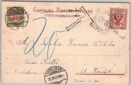 ITALY - CARTOLINA POSTALE 1902 ROMANO DI LOMBARDIA -> UERLIKON -TAXE- - 1900-44 Victor Emmanuel III