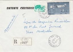 Yvert 2181 Liberté Gandon + PA 57 Sur Lettre Recommandée LE CRES Hérault  27/11/1985 - France