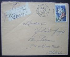 1955 La Garenne Colombes Cachet Hexagonal Sur Lettre Recommandée Pour Saint Montant (Ardèche) - Postmark Collection (Covers)