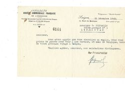 Indochine Société Commerciale Française SAIGON 1943 Document Bien Colonies Françaises - Frankrijk