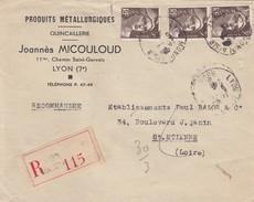 LETTRE. 6.7.46.  RECOMMANDÉ LYON-GUILLOTIERE. GANDON 3F X 3. Ets JOANNES MICOULOUD PRODUITS METALLU POUR ST ETIENNE / 3 - Marcophilie (Lettres)