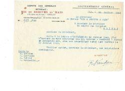 Indochine Comité Des Céréales Gouvernement Général CHOLON 1945 Document Bien Colonies Françaises Riz Et Dérivés Maïs - Other