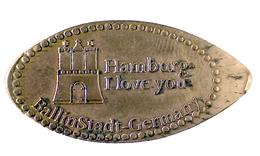 00779 GETTONE TOKEN JETON FICHA ELONGATE PENNY SOUVENIRS HAMBURG LOVE YOU BALLISTADT GERMANY - Pièces écrasées (Elongated Coins)