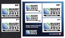 NEW ZEALAND 2010 Rugby World Cup 2011: Set Of 2 Stamps + Miniature Sheet UM/MNH - Rugby
