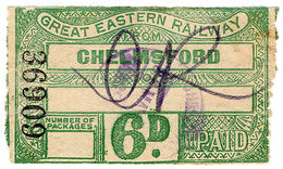 (I.B) Great Eastern Railway : Parcels Service 6d (Chelmsford) - 1840-1901 (Victoria)