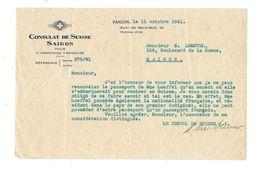 Indochine Consulat De SUISSE à Saïgon 1941 Document Bien Colonies Françaises - France