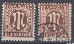 AM-Post Minr.2x 6 Plf.IV Postfrisch, Gestempelt - Bizone