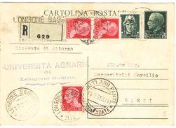 R695) V.E.III CARTOLINA POSTALE 15 C. IMPERIALE SPEDITA PER RACCOMANDATA IL 13.2.1935 - Interi Postali