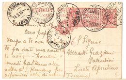 R739) V.E.III CARTOLINA POSTALE 10 C. LEONI SPEDITA PER ESPRESSO IL 14.5.1916 - Interi Postali