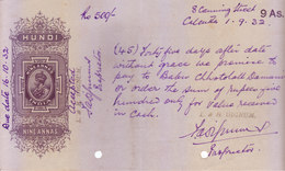 BRITISH INDIA - HUNDI / BILLS OF EXCHANGE - KING GEORGE V - 1932 - NINE ANNAS - USED - Bills Of Exchange