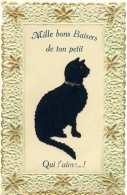 6127  Chat: C.p. Gaufrée, Velours Collé  -  Cat Postcard Embossed, Velvet-cat. Katze Samt - Cats