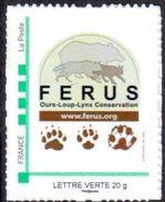 Timbre Personnalisé Logo Ferus Et Empreintes Ours Loup Lynx - édition 2017 - Lettre Verte - France