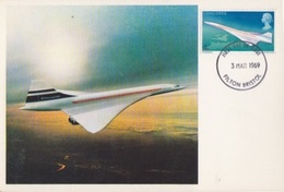 CP Maximum N° 555 Avion Supersonique Concorde  En Vol Obl. Filton Bristol Le 3 Mars 1969 - Cartas Máxima