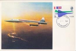 CP Maximum N° 556 Avion Supersonique Concorde (ailes Et Fuselage) Obl. Filton Bristol Le 3 Mars 1969 - Cartas Máxima