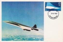 CP Maximum N° 557 Avion Supersonique Concorde (cockpit Et Empennage) Obl. Filton Bristol Le 3 Mars 1969 - Carte Massime