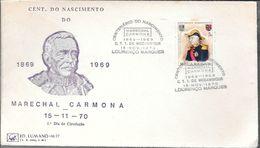MOZAMBIQUE CENTENARIO DEO NASCIMENTO DO MARECHAL CARMONA AN 1970 FDC MOCAMBIQUE LOURENCO MARQUES ENVELOPPE - Mozambique