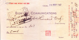 BANK OF COMMUNICATIONS, CALCUTTA BRANCH - 1947 WITHDRAWAL SLIP - USED WITH DIFFERENT SIGNATURE SEALS - Cheques & Traveler's Cheques